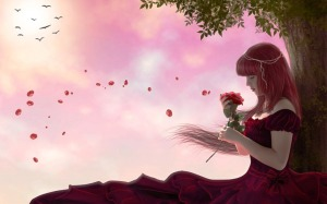 ws_Woman_Red_Hair_Dress_Rose_Tree_1920x1200